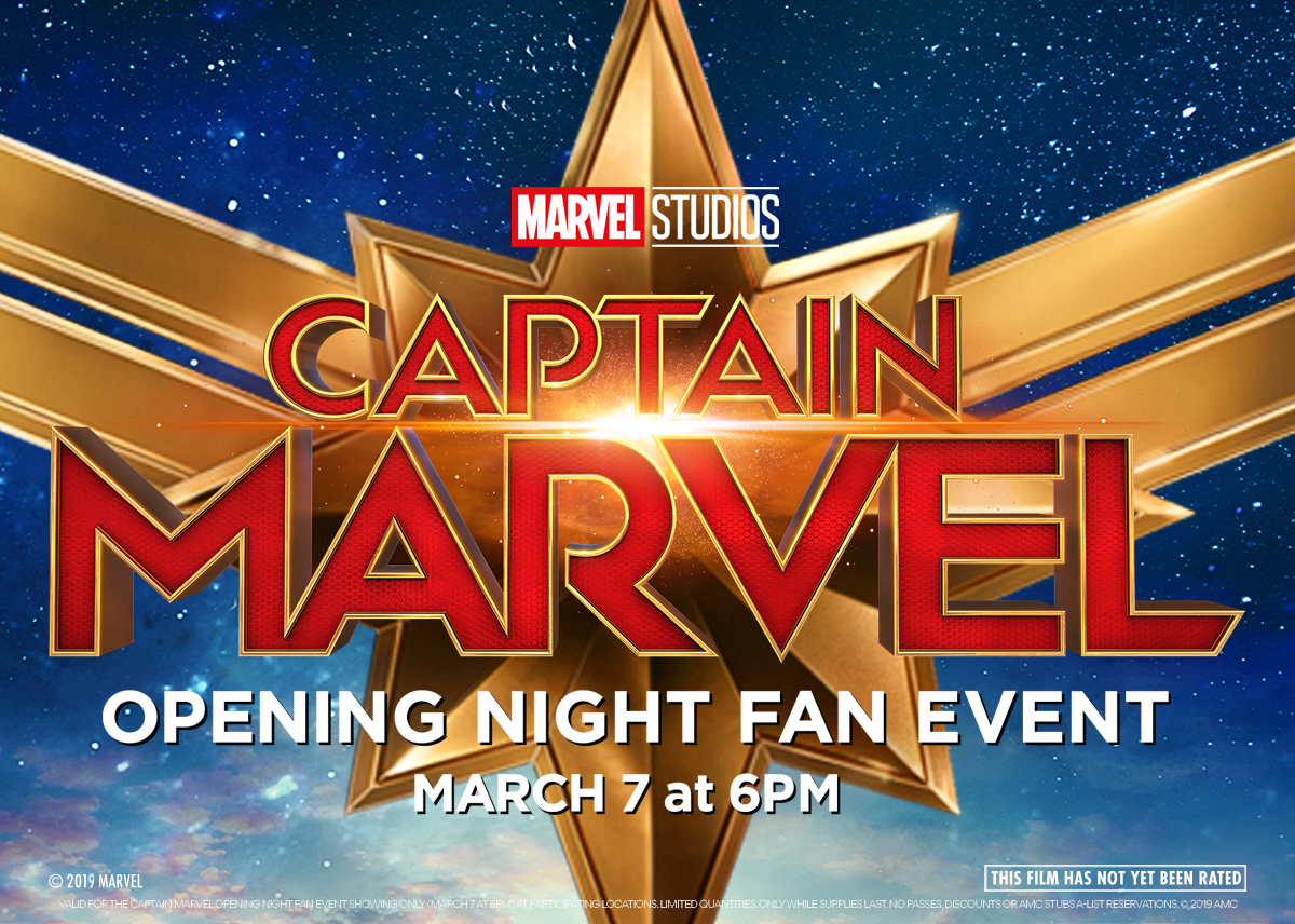 opening night fan event: captain marvel at an amc theatre near you