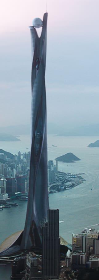 Movie still from Skyscraper