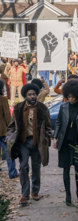 Movie still from BlacKkKlansman