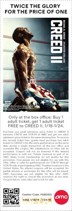 Creed II BOGO Coupon