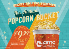 The Annual Popcorn Bucket now only $9.99 plus tax