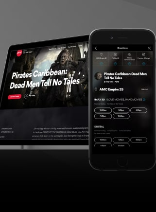 The newly designed AMC Theatres site