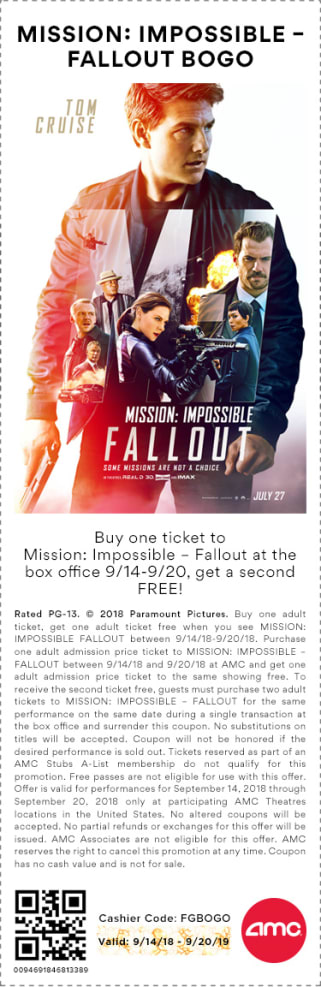 Mission: Impossible BOGO Coupon