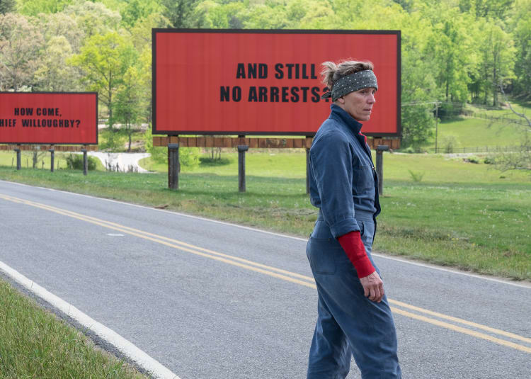 Promotional image for Three Billboards Outside Ebbing Missouri