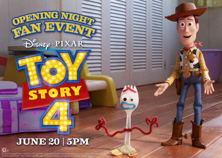 Opening Night Fan Event: Toy Story 4 at an AMC Theatre near you.