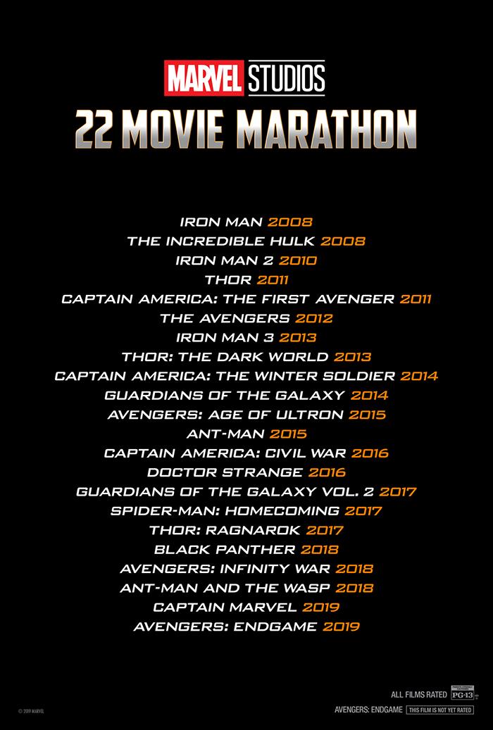 marvel studios  22 movie marathon at an amc theatre near you